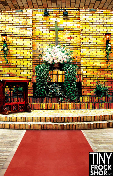 CM-0937 Barbie Photography Backdrop - Wide - Kitschy Church - TinyFrockShop.com
