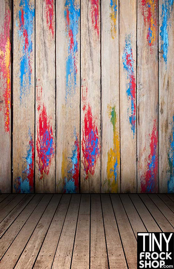 F-092 Barbie Photography Backdrop Paint Splattered Wall - Standard - - TinyFrockShop.com