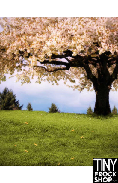 F-1289 Barbie Photography Background - Flowering Tree - TinyFrockShop.com