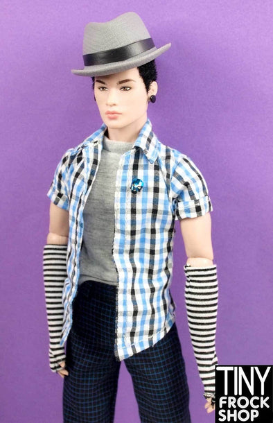 Integrity Toys Hommes Stylelab Dim The Lights Striped Fingerless Gloves - TinyFrockShop.com