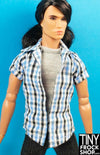 "Ken and 13"" Male Integrity Size Avastars Plaid Check with Grey Tee Shirt 2 For Top - TinyFrockShop.com"