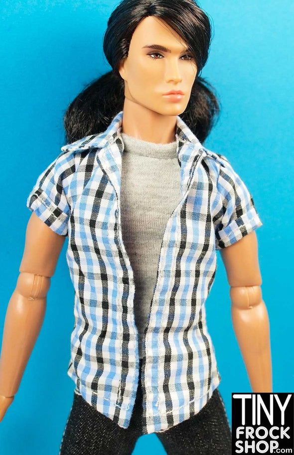 "Ken and 13"" Male Integrity Size Avastars Plaid Check with Grey Tee Shirt 2 For Top"
