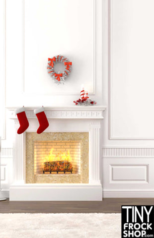 Barbie Photography Background - White Christmas Hearth - S-501