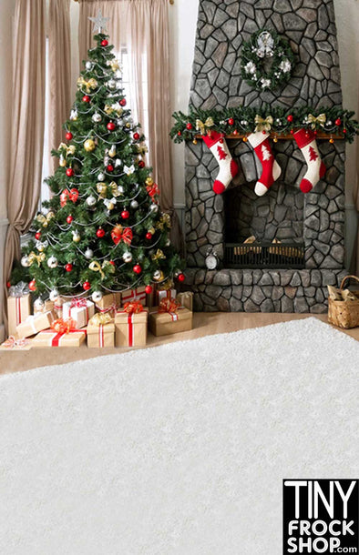 Barbie Photography Background - Standard - Bricked Xmas Fireplace ST-436