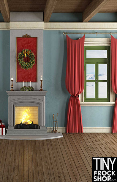 ST-492 Barbie Photography Backdrop - Wide - Quaint Christmas Home - TinyFrockShop.com