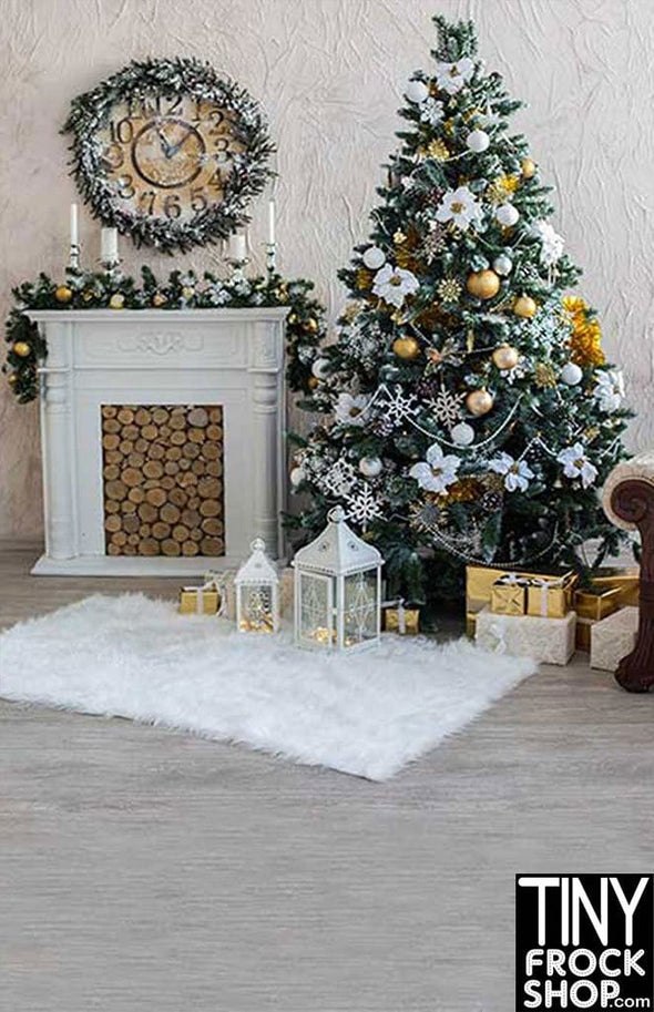 ST-559 Barbie Photography Backdrop Golden Christmas - Standard