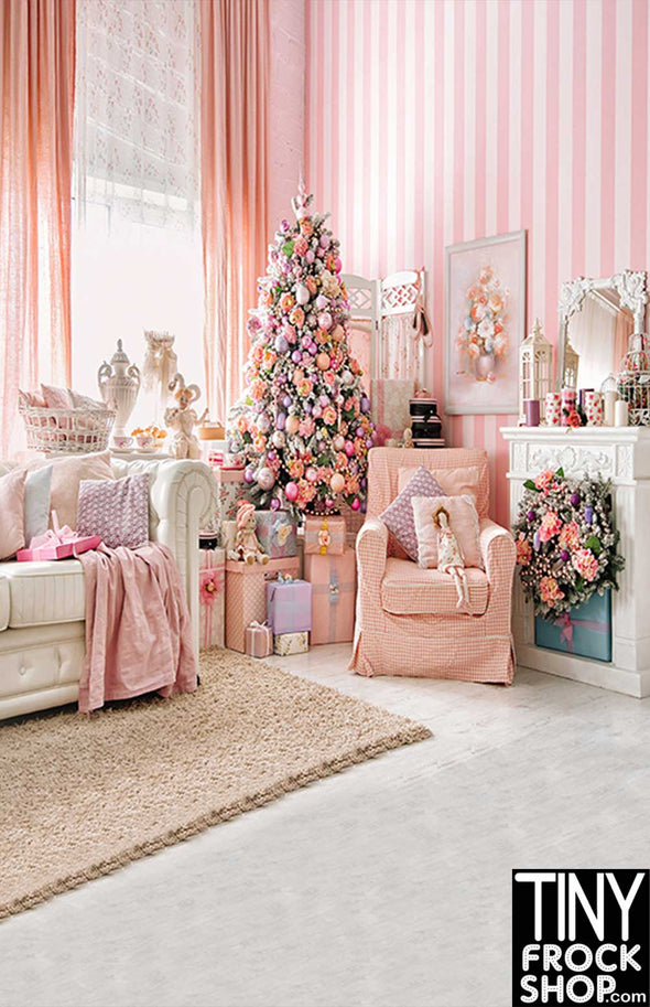 ST-682 Barbie Photography Backdrop - Wide - Pretty Pink Holiday