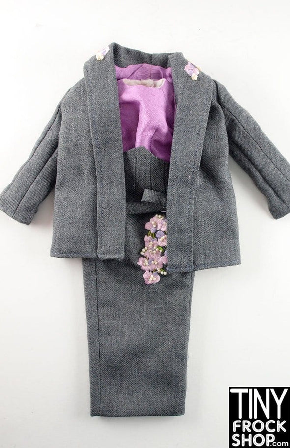 "Tonner 16"" Tyler Wentworth Woolen Grey Jacket And High Waisted Skirt With Lavendar Top And Flowers Outfit - TinyFrockShop.com"