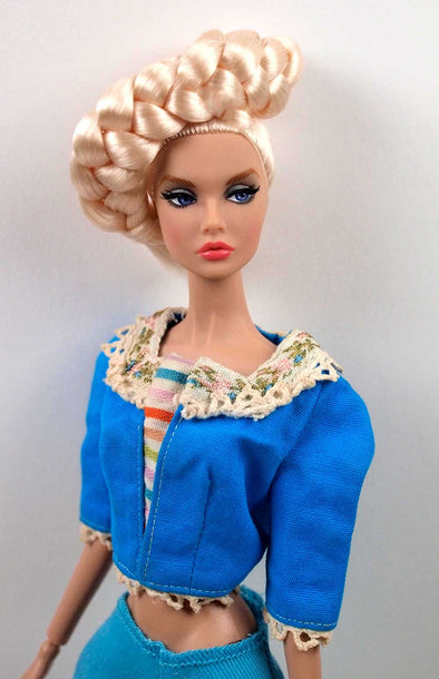 Barbie Vintage Barbie in Holland #0823 Blue Top With Stripes