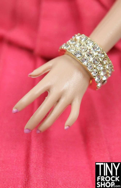 Barbie Banded Rhinestone Gold Bracelet - Tiny Frock Shop