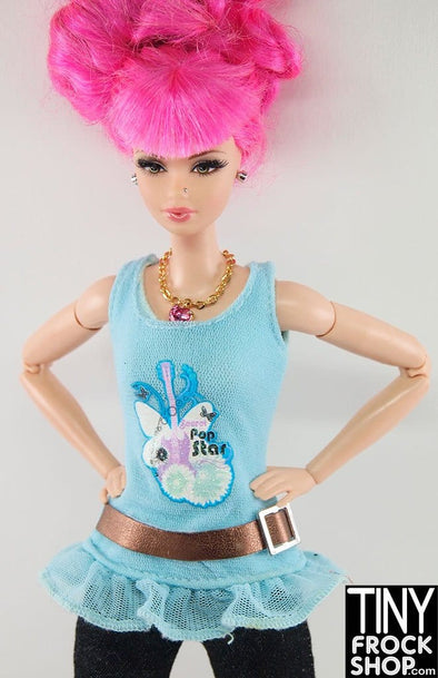 Barbie Blue Netty Secret Pop Star Top With Attached Belt