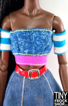 Barbie Faux Denim Top With Striped Sleeves