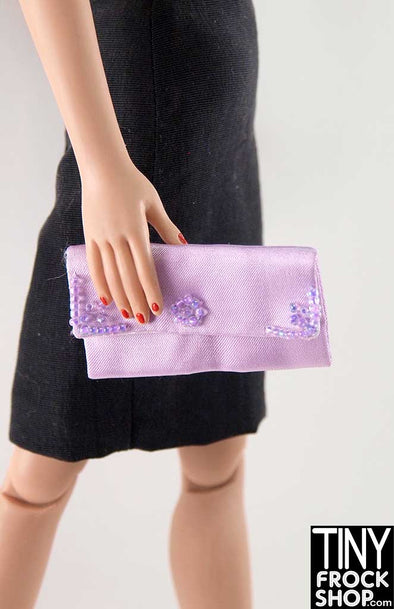 16 Inch Doll Beaded Lavender Sating Clutch Handbag