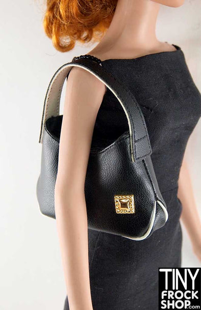16 Inch Doll Black Structured Luxe Handbag