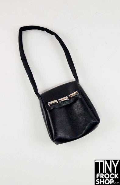 16 Inch Doll Black Vinyl Rectangle Stud Handbag