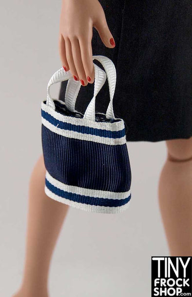 16 Inch Doll Blue And White Striped Grosgrain Handbag
