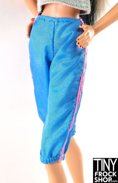 Barbie Blue long Shorts With Elastic Hem