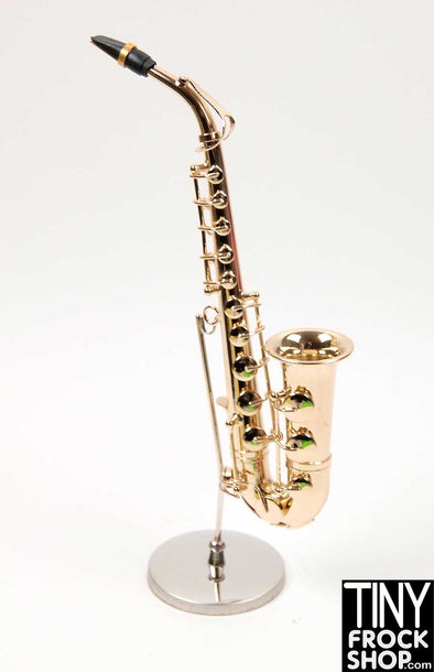 Barbie Brass Style Metal Hand Crafted Saxophone with Case and Stand! - Tiny Frock Shop