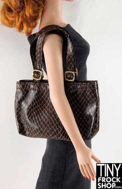 16 Inch Doll Brown Faux Snake Tote Bag