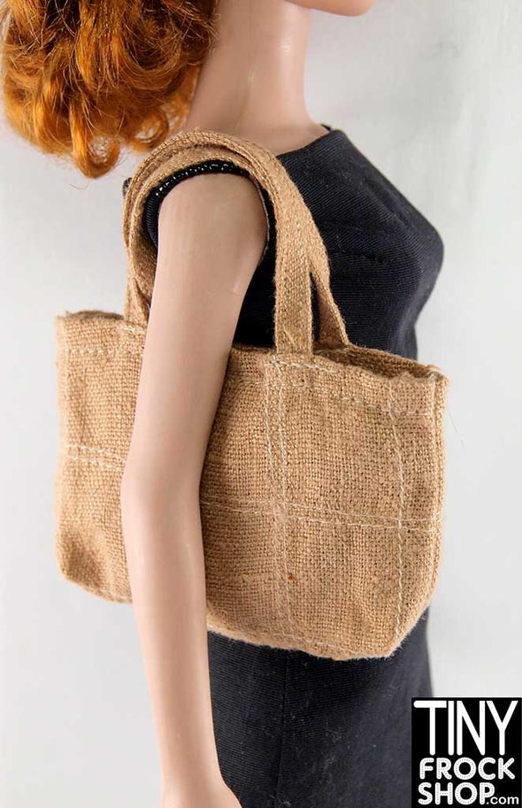 16 Inch Doll Brown Jute Tote Bag