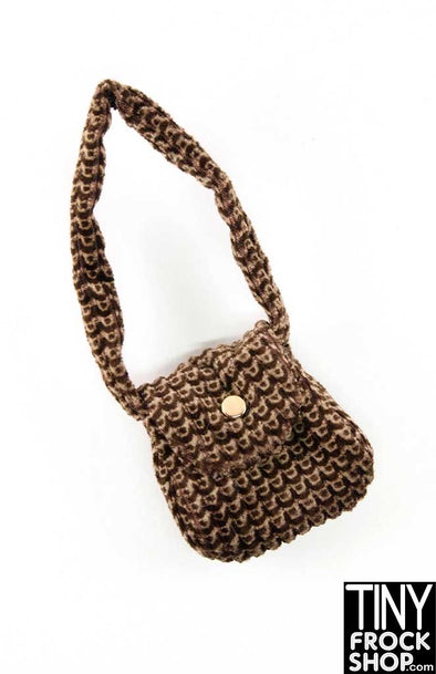 16 Inch Doll Brown Luxe Velveteen Shoulder Bag