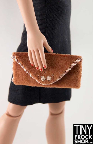 16 Inch Doll Brown Velveteen And Twisted Trim Clutch Handbag