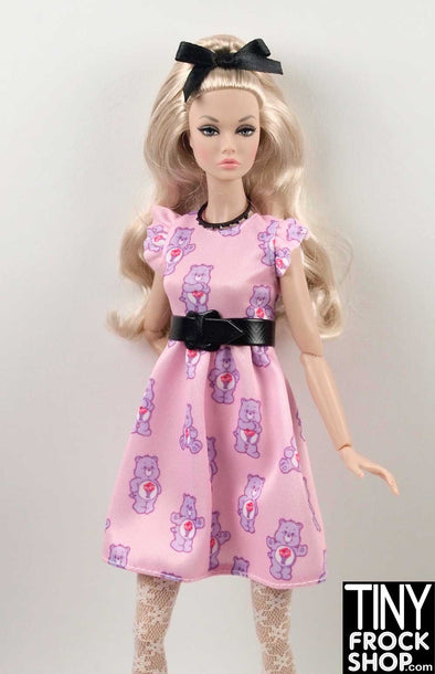 Barbie FKR87 Care Bear All over Pink Flounce Sleeve Dress