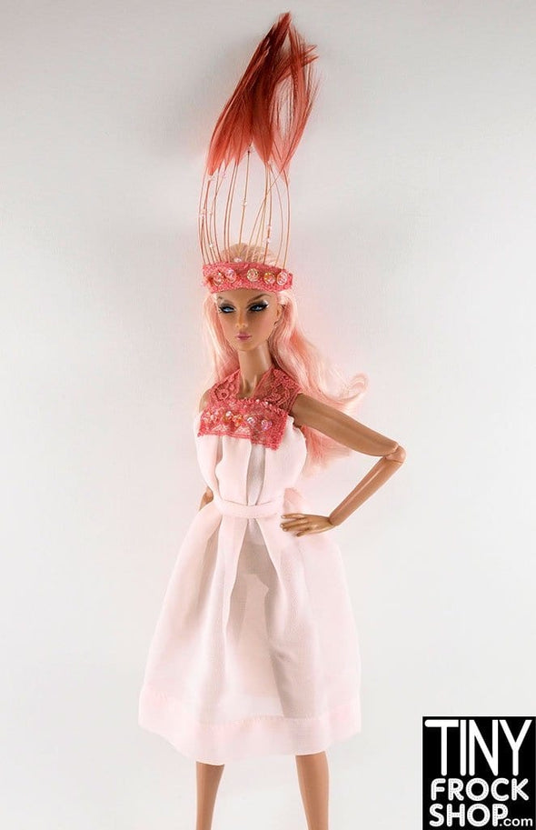 Barbie Chiffon Dress With Tall Feather Head Piece by Pam Maness