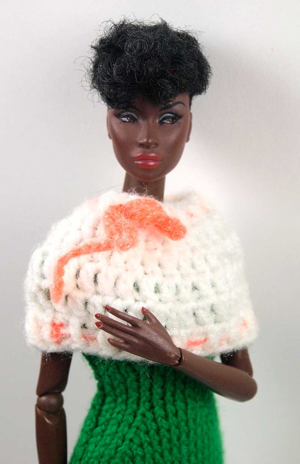 Barbie Crochet Caplet With Neon Bow - TinyFrockShop.com
