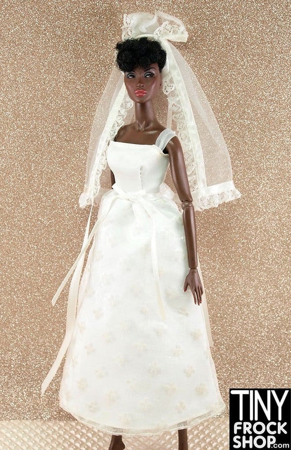 Barbie Dotty Flocked Wedding Dress With Short Veil