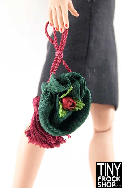 16 Inch Doll Emerald And Rose Drawstring Bag