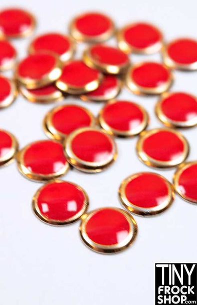 6mm - Barbie Mini Round High Quality Enamel and Gold Button Trim - Pack of 12 - TinyFrockShop.com