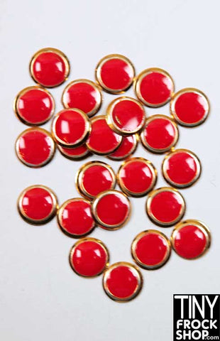 6MM - Barbie Mini Round High Quality Enamel and Gold Button Trim - MORE COLORS! Pack of 12
