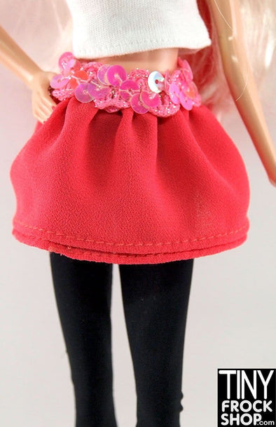 Barbie Georgette Salmon Double Layer Skirt With Sequin Waistband