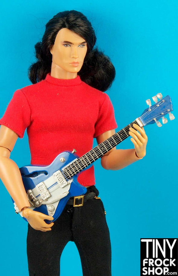 Barbie K-GM30 Wood Hand Crafted Blue and Steel Look Guitar - TinyFrockShop.com