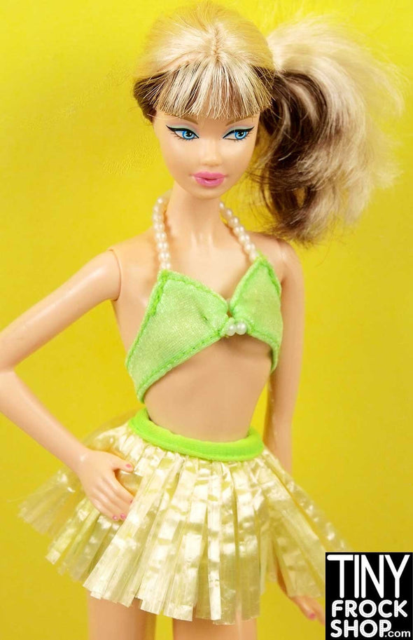 Barbie Green and Pearl Hawaiian Skirt Swim Set - TinyFrockShop.com