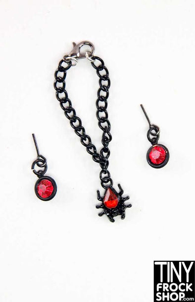 Barbie Halloween Contrast Stone Spider Necklace And Earring Set by Pam Maness