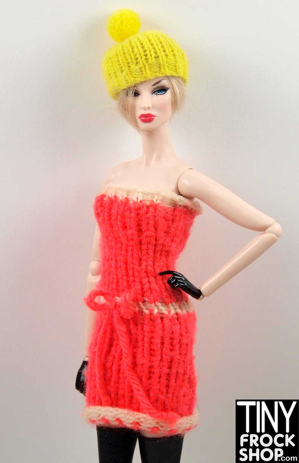 Barbie Hot Coral Knit Dress With Cream Contrast - TinyFrockShop.com