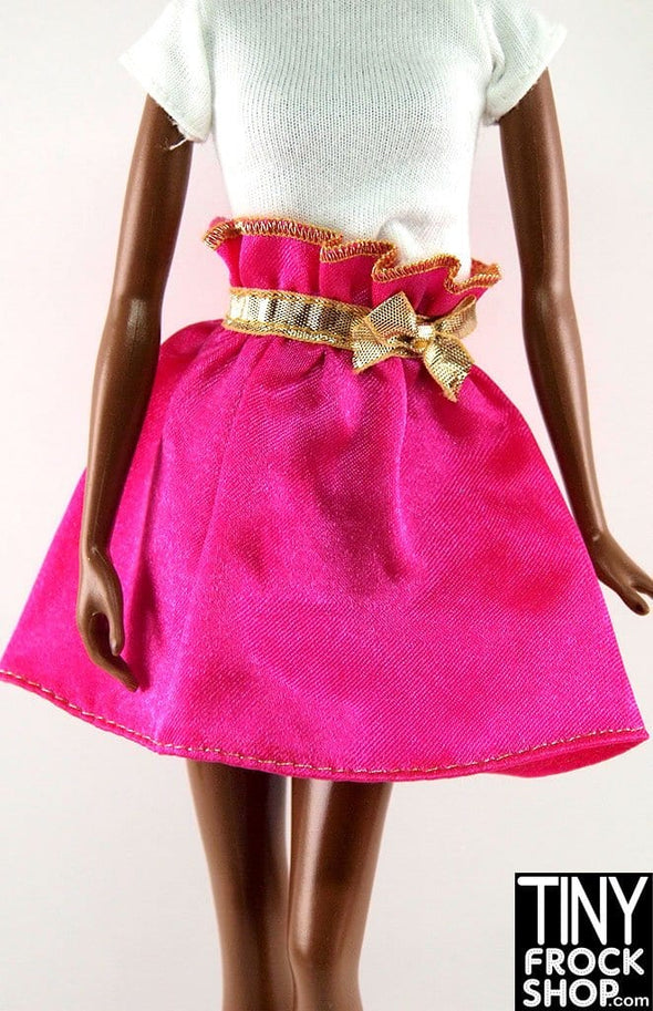 Barbie Hot Pink Satin And Gold Belted Skirt