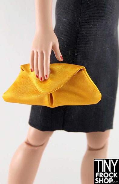 16 Inch Doll Inverted Pleat Yellow Satin Clutch Handbag
