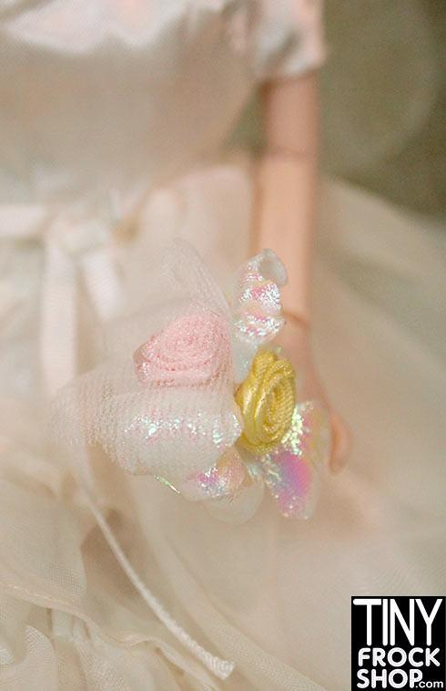 Barbie Iridescent Yellow and Pink Rose Bouquet