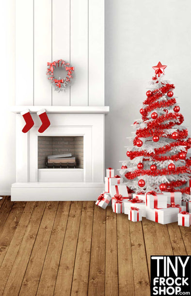 Barbie Photography Background - Modern Christmas Hearth - L-842