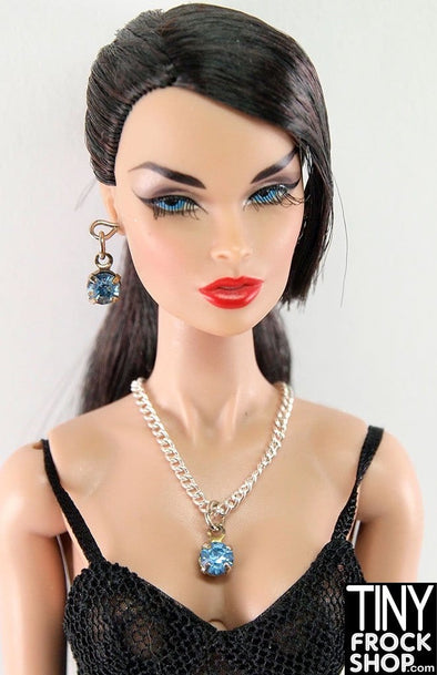 Barbie Lovely Blue Rhinestone Droplet Necklace And Earrings Set by Pam Maness