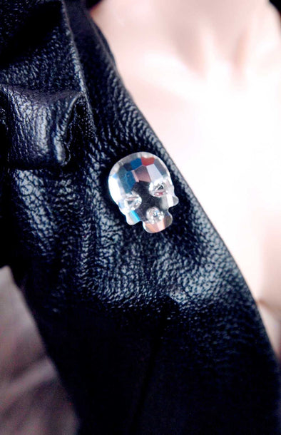 Barbie Faceted Skull Rhinestone Magnetic Brooch by Pam Maness for TFS - TinyFrockShop.com