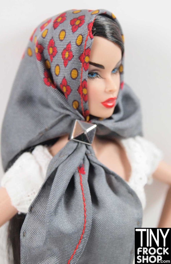 Barbie Vintage Grey Mini Foulard Triangle Silk Scarf by Pam Maness for TFS