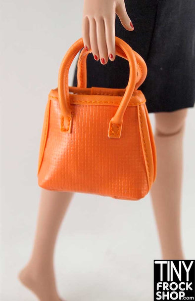 16 Inch Doll Orange Vinyl Textured Handbag