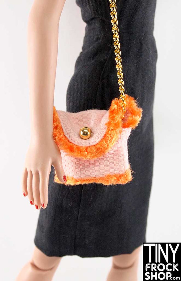 16 Inch Doll Pink And Orange Faux Fur Shoulder Bag