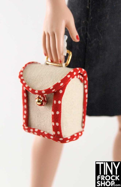 16 Inch Doll Polka Dot Trimmed Box Fabric Handbag