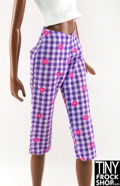 Barbie Purple Check And Pink Flower Plaid Capri Pants
