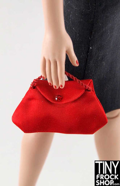 16 Inch Doll Red Satin Flap Handbag